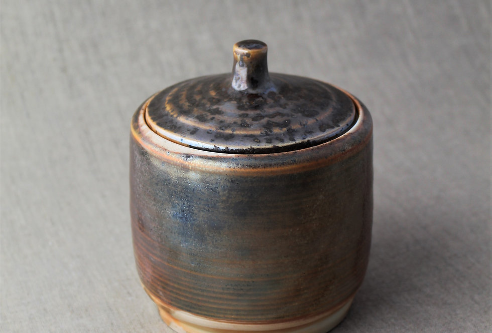 Wood Fired Metallic Lidded Jar