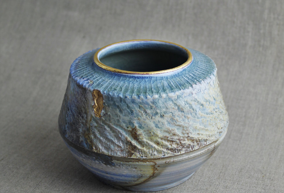 Wood Fired Blue Marbled Pot