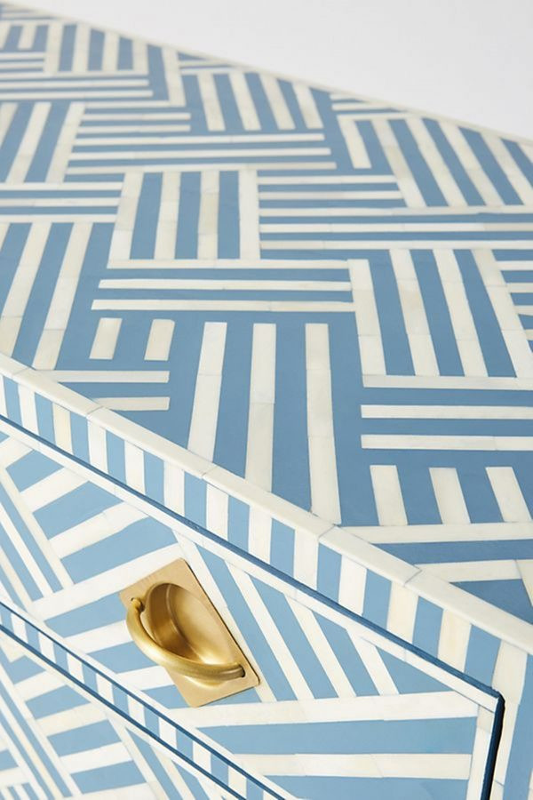 bone inlay chest of drawers blue and white stripe pattern