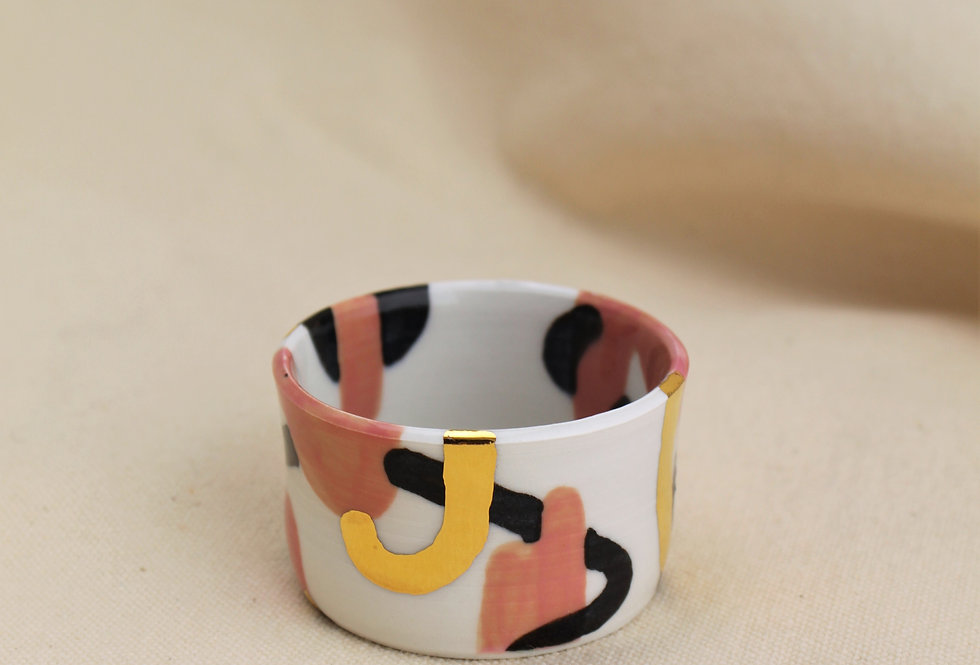 Pink, Black, and Gold Shot Glass