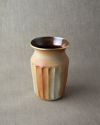 Wood Fired Faceted Vase with Gold Lip