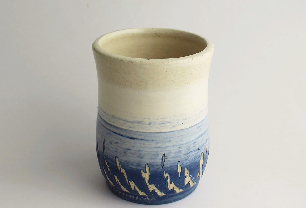 Stoneware Cup with Blue Pattern
