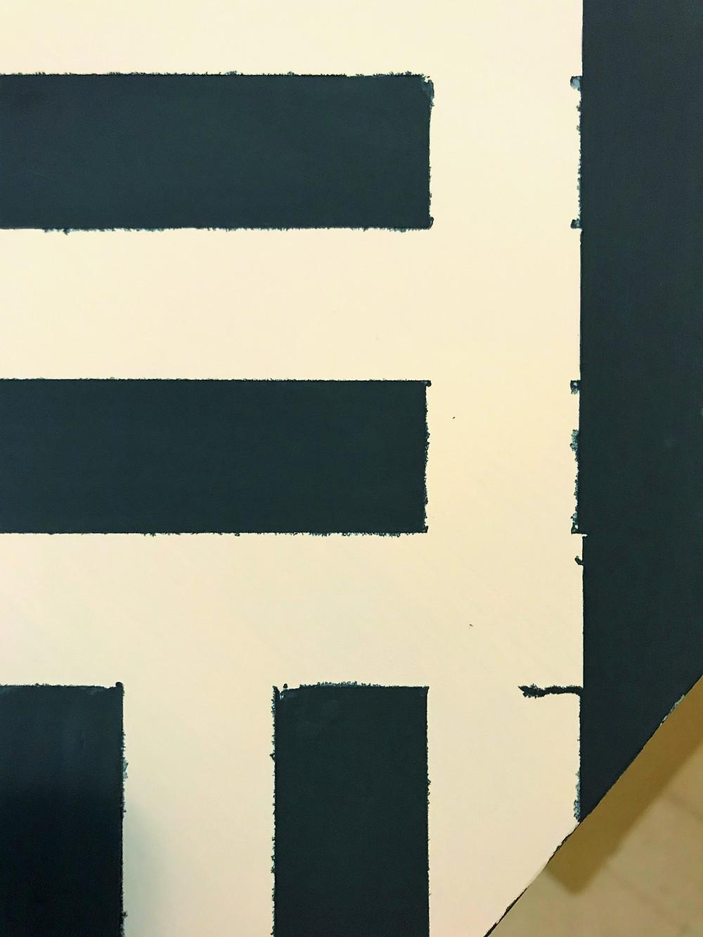 painter's tape edges chalk paint pattern on desk
