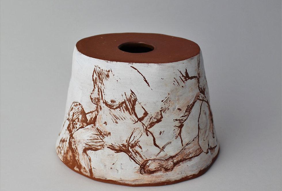 Earthenware Pot with Sgraffito