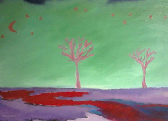 "Pintura a óleo ""Noite estrelada"""