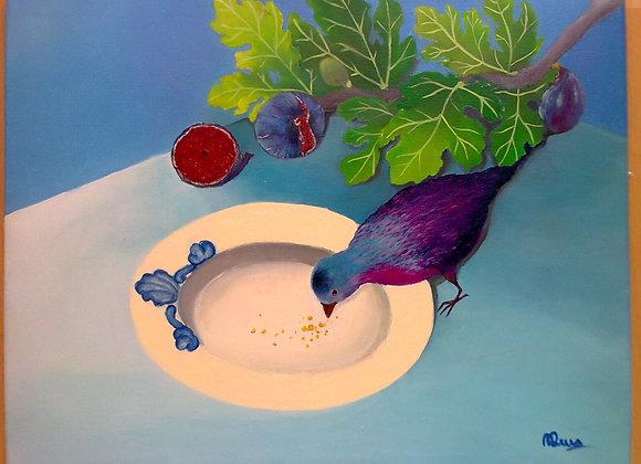 """Pintura a óleo """"O pássaro nos nenúfares"""""""