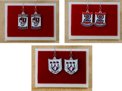 Earrings -1st Brigade, 2nd Brigade, 3rd Brigade