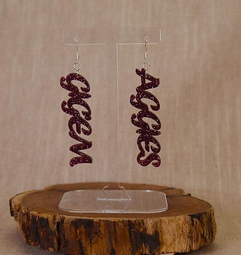 Earrings - Glitter Words