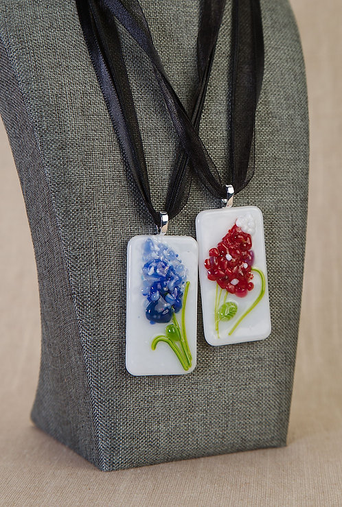 Necklaces -Hand Made Stained Glass Maroonbonnets and Bluebonnets