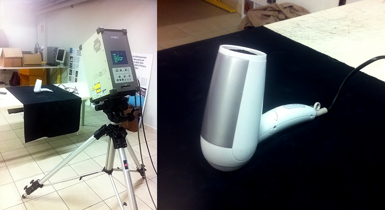 Setup and 3D scanning a hair dryer