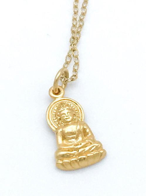 Feine Kette mit Buddha-Anhänger Sterling Silber vergoldet