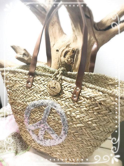 Korbtasche Peace Silber