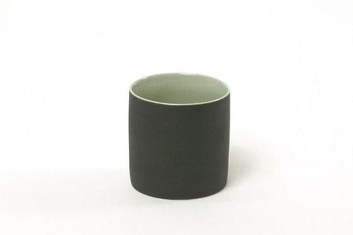 Teetasse Matt schwarz/grau-minze