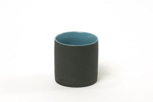 Teetasse matt Schwarz/Blau
