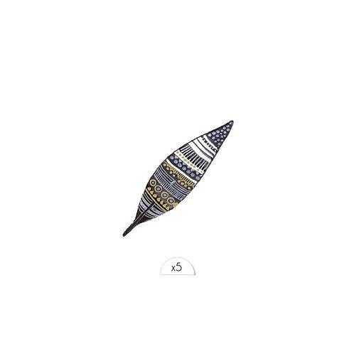 Schwarz-Goldene Feder / 5 Stück NonPermanent Tattoo