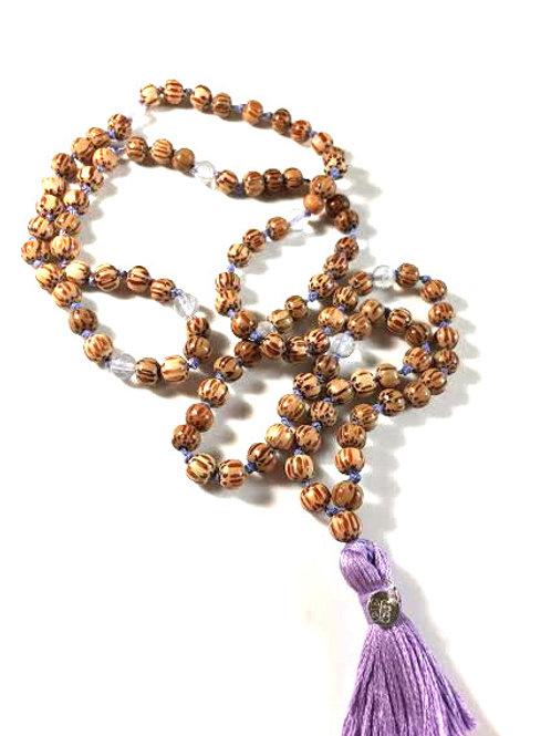 spiritual wisdom / Mala aus Palmholz & Lavendelquarz