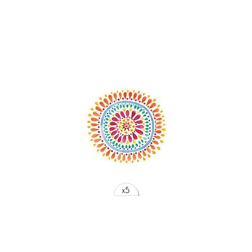 Mandala Bunt / 5 Stück NonPermanent Tattoo