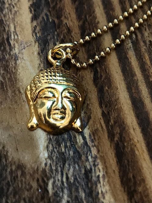 Kugelkette mit Buddha-Anhänger, Sterling Silber vergoldet