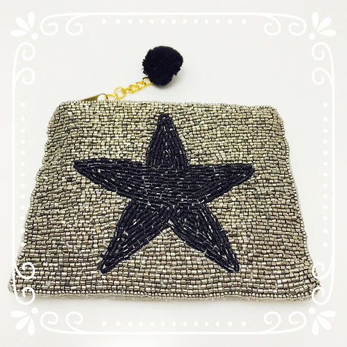 Perlenverziertes Stern-Täschchen Silber