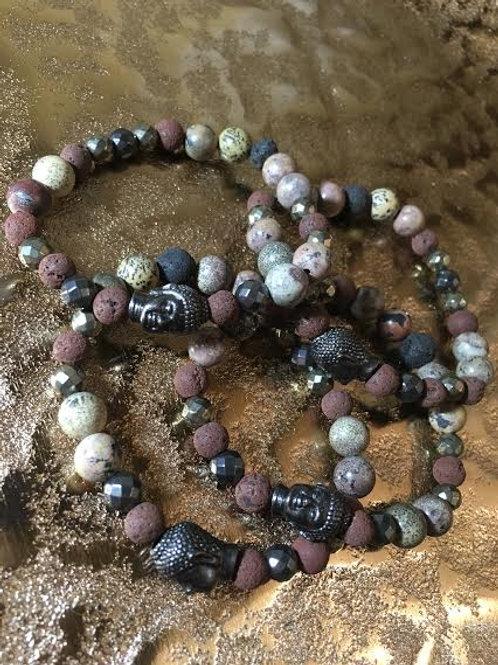 Buddha-Armband Lava,Jaspis,Hämatit,Pyrit