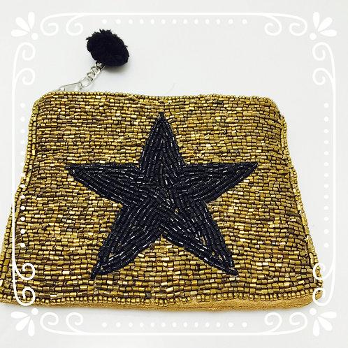 Perlenverziertes Stern-Täschchen Gold