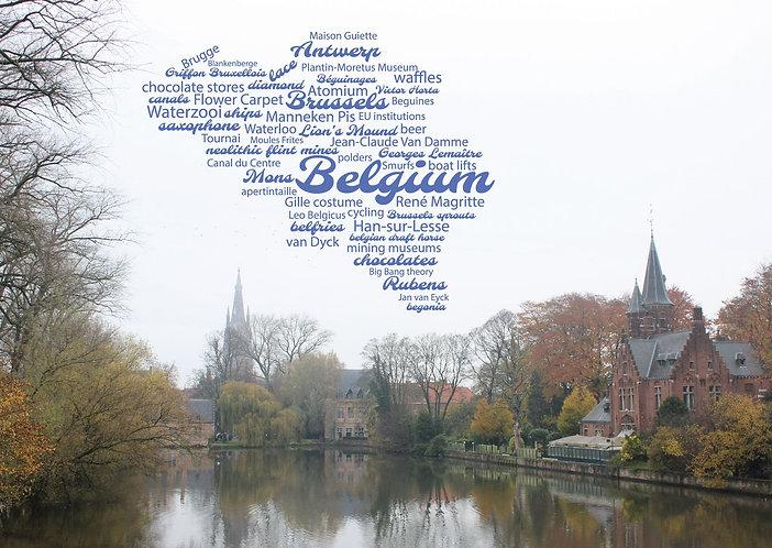 Belgium WordCloud postcard