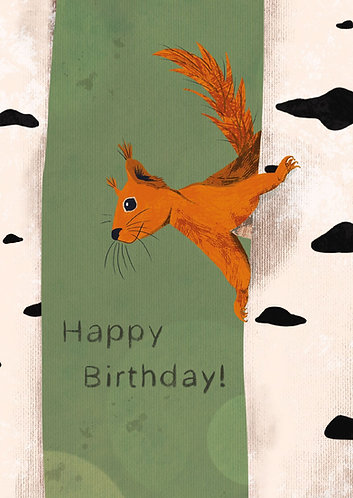 Squirrel - Happy Birthday Postcard