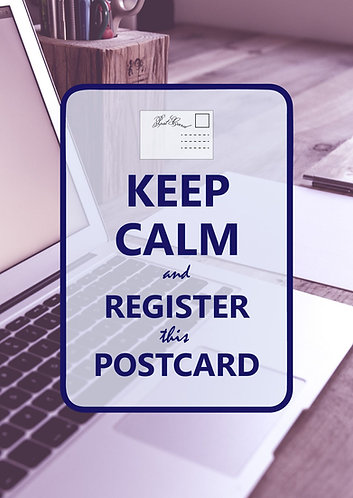"""Keep Calm & register this postcard"" Postcard"