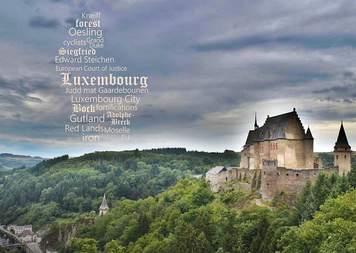 Luxembourg WordCloud postcard