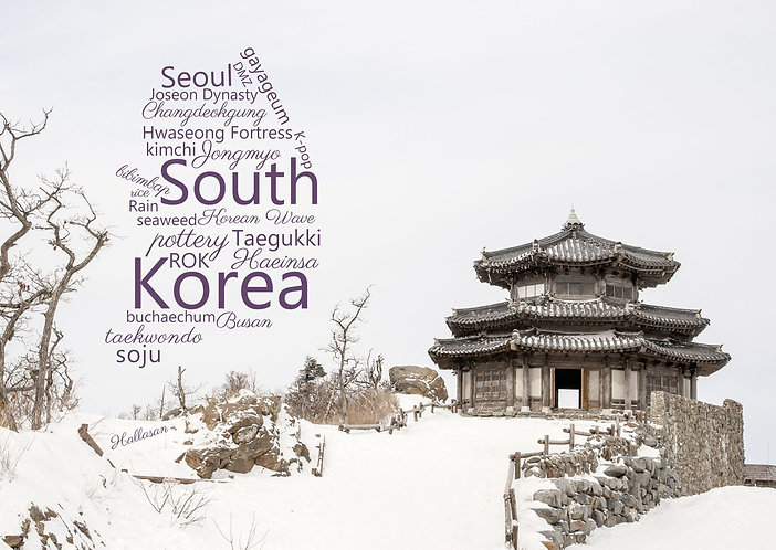 South Korea WordCloud postcard