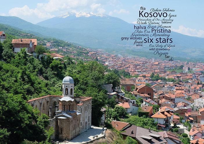Kosovo WordCloud Postcard by PostcardSisters