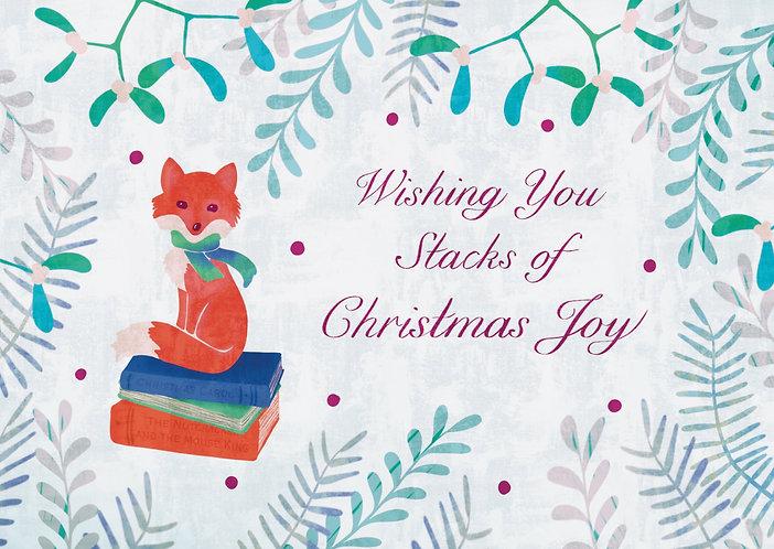 Fox and Books - Christmas Postcard