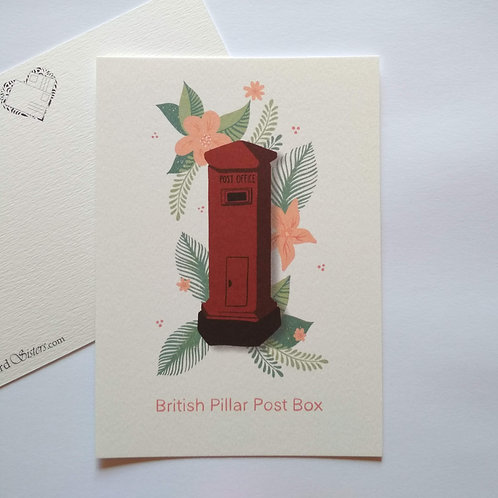 British Pillar Post Box - postcard