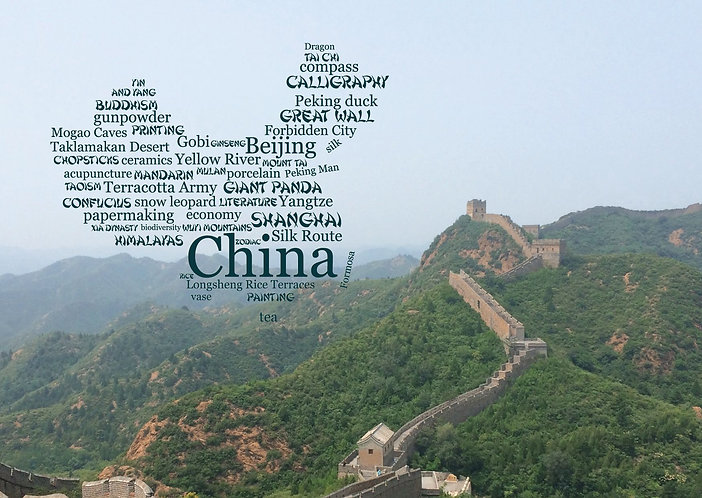Great Wall, China WordCloud postcard