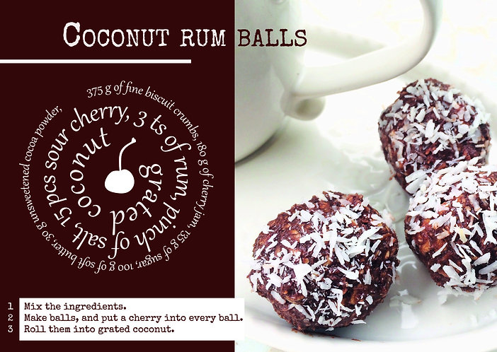 Recipe postcard - Coconut rum balls
