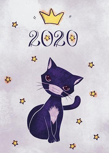 Cat in Mask - Postcard