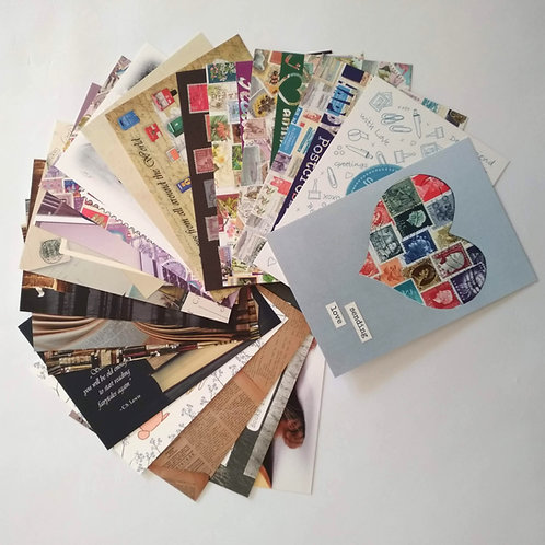 Postcard Bundle of 20 pcs Postal and Book themed postcards by PostcardSisters