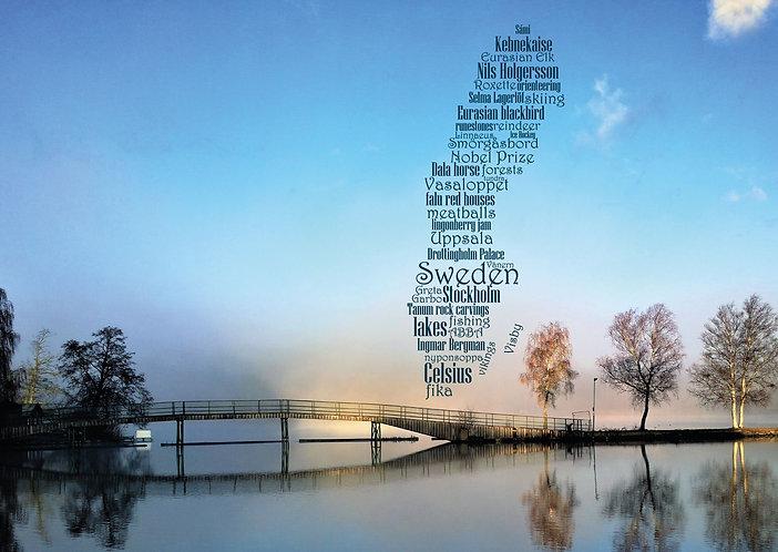 Sweden WordCloud postcard