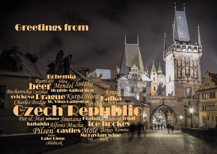 Czech Republic - WordCloud Postcard