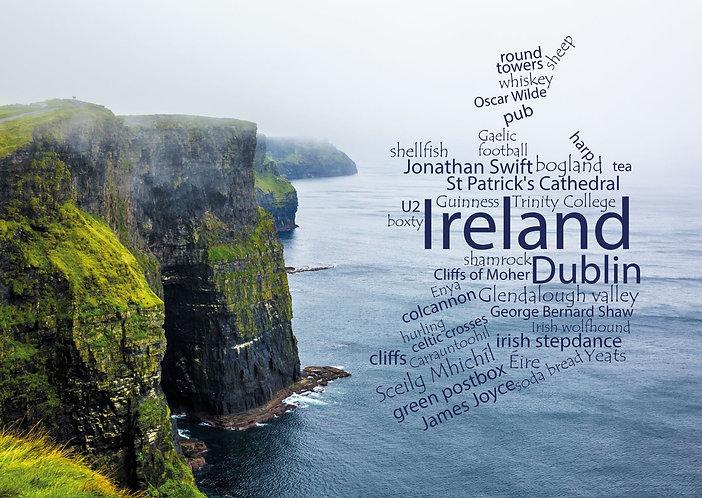 Ireland Wordcloud postcard by PostcardSisters