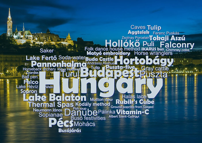 Hungary WordCloud postcard