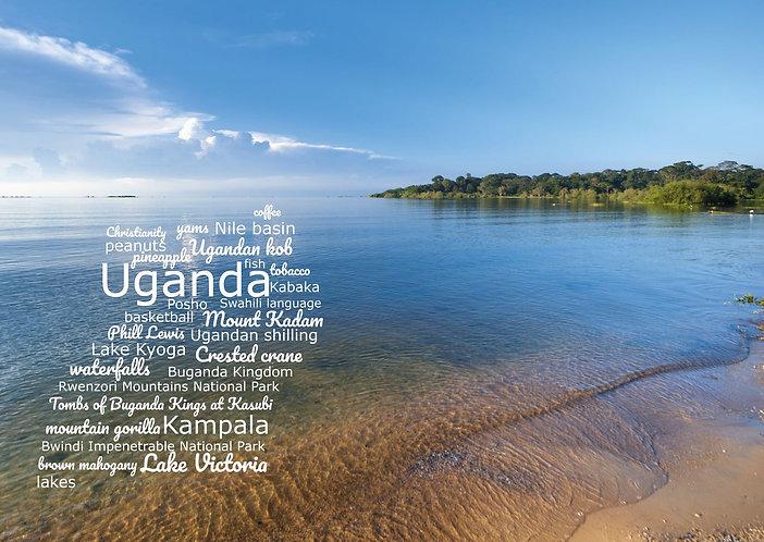 Uganda WordCloud postcard