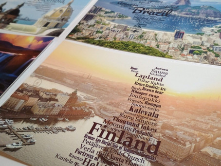 What shows the photos of the WordCloud postcards?