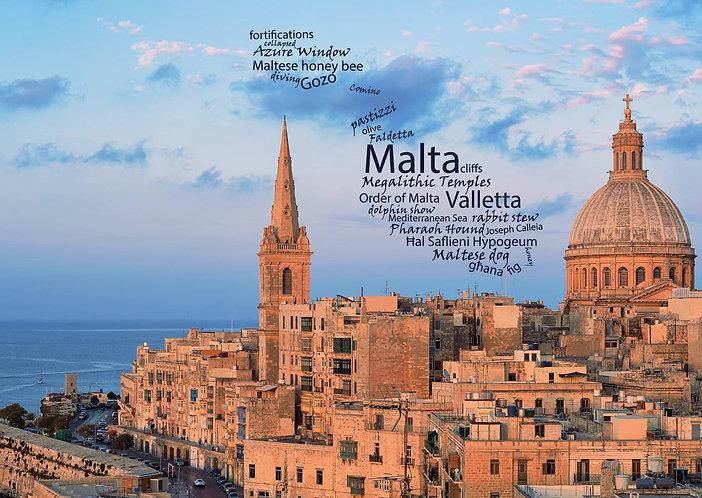 Malta - WordCloud Postcard