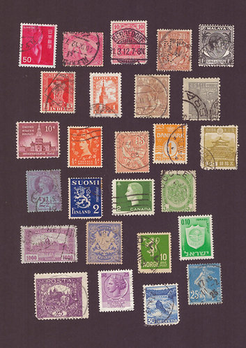 Old Stamps from all around the World - Postcard
