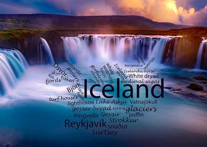 Iceland - WordCloud Postcard