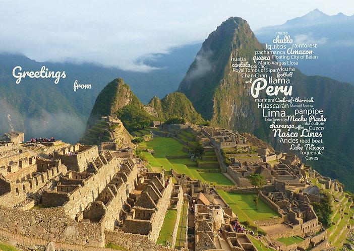 Peru WordCloud postcard... Greetings from Peru by PostcardSisters