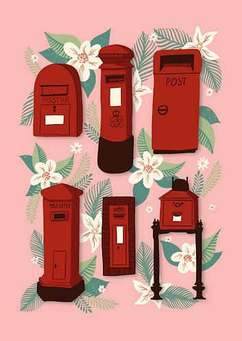 Red Postboxes - Postcard