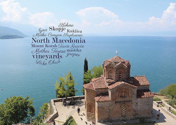 North Macedonia WordCloud postcard