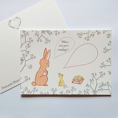 "Postcard with a lovely drawing. The bunny asks the mouse ""What are you reading?"""